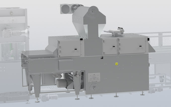 Starch buck for emptying, filling and stamping of trays